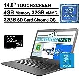 2020 Newest HP Chromebook 14 Inch Touchscreen Laptop, Intel Celeron N3350 up to 2.4 GHz, 4GB LPDDR4 RAM, 32GB eMMC, Bluetooth, Webcam, Chrome OS + NexiGo 32GB MicroSD Card Bundle