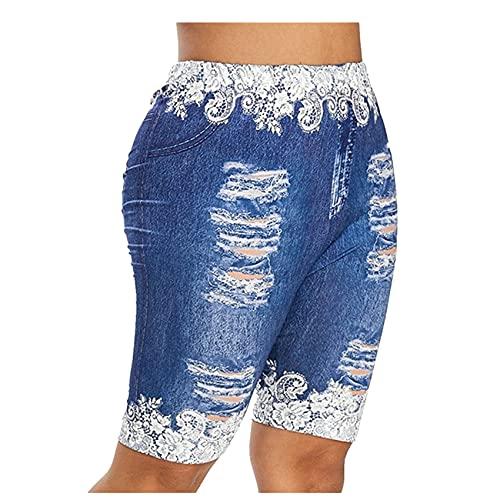 Hhckhxww Leggings Deportivos con Estampado De Mariposas Y Mezclilla para Mujer Pantalones De Yoga Que Levantan La Cadera