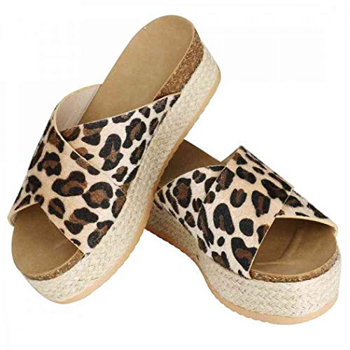 Womens Espadrilles Sandals,Open Toe Slide-on Faux Leather Studded Platform Summer Criss Cross Slippers Slide Flatform Sandals (Leopard Pattern,9 M US=EU 40)