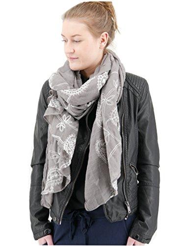 Trends für Dich Romantischer Damen Schal Tuch Halstuch mit Paisley Blumen Blüten Stickerei Stola bestickt (3094) (Grau weiß)
