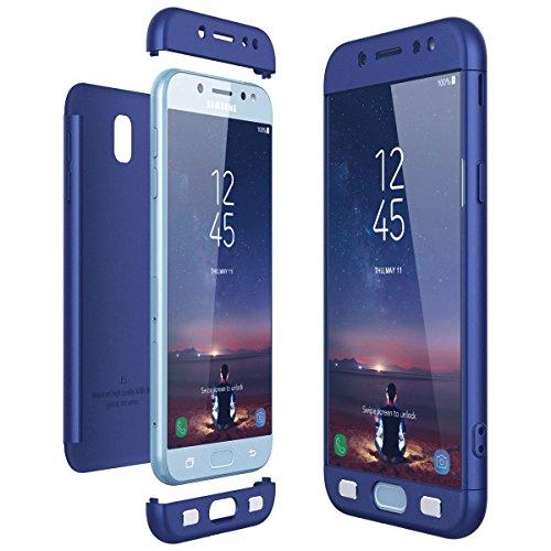 CE-Link Cover Samsung Galaxy J5 2017 J530 (EU Version) 360 Gradi Full Body Protezione, Custodia Galaxy J5 2017 Silicone 3 in 1 Antishock e Antiurto, J5 2017 Case - Blu