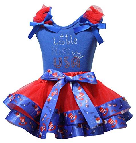 Petitebelle Little Miss USA T-shirt américain Chapeau Pétale rouge Jupe Ensemble Nb-8Y 1-3 ans Bleu