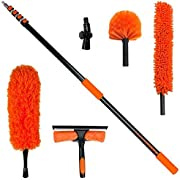 Buyplus Duster Cleaning Kit with 5-to-20 feet Purpose Extension Pole Feather Duster, Microfiber Ceiling Fan Duster, Window Squeegee, Universal Joint
