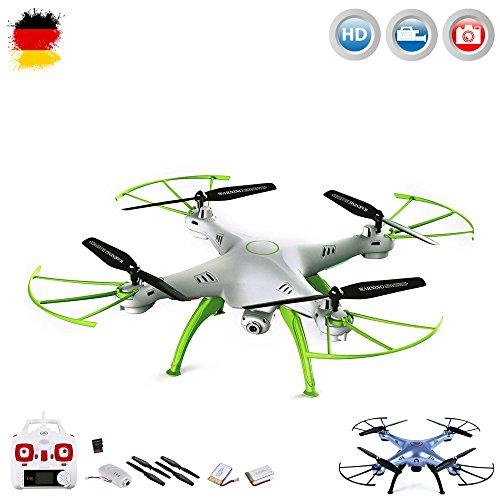 X5HC PRO-Edition - 4.5-Kanal ferngesteuerter Quadrocopter 3D Drohne mit HD-Kamera optional mit WIFI Live-Übertragung-Set erweiterbar, Höhenbarometer,Headless, 6-axis Gyro und vieles mehr, Mega-Set Crash-Kit und POWER UPGRADE ERSATZAKKU mit 3,7V 1200mAh Kapazität