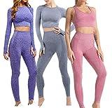 Conjunto Yoga 3 Piezas para Mujer, ConjuntoDeportivo Pantalones De Yoga Súper Elásticos Sin Costuras mas Bralette para Mujer Camiseta Deportiva De Manga Larga Sin Costuras Mujer (Set 3 Azul, M)