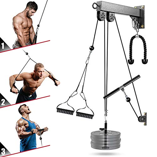 Elikliv Fitness LAT and Lift Pulley System Gym, LAT Pull Down Machine Cable Attachments for Gym, Tricep Pulley Pro- Pullet Cable Machine System with Pulldown Bar, Home Gym Workout for Weight Training