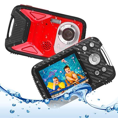 Heegomn Fotocamera digitale impermeabile per bambini, 16MP Full HD 1080P, zoom digitale 8x, videocamera subacquea per adolescenti principianti (Rosso)