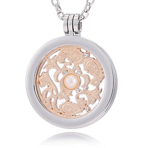 Morella Collana Donna 70 cm Acciaio Inossidabile con Coins Moneta amuleto Ciondolo Rotondo 33 mm placca Rotonda Simbolo Vento Oro Rosa in Sacchetto di Velluto