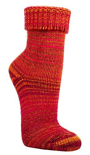 TippTexx24 2 Paar w&erschöne, warme, kuschelige Wollsocken im Skandinavien-Style mit Umschlag mit zusätzlicher Garantie (39/42, Orange-Pink)