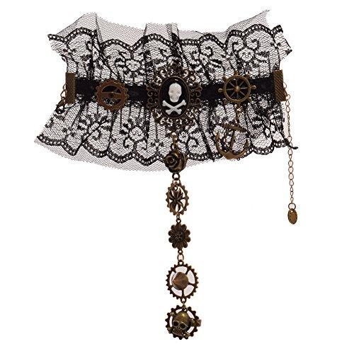 GRACEART Steampunk Dentelle Poignet Manchette Bracelet avec Crâne Bague