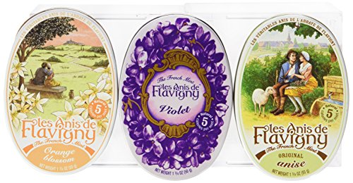 Anis De Flavigny - Orange, Anise and Violet Flavored Candies From France 3 Pack 3x1.75oz