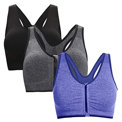 Aibrou Damen Sport BH Starker Halt Große Brüste Reißverschluss Gepolstert BH ohne Bügel Push Up für Fitness Training Mix 3er Pack M