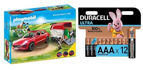 PLAYMOBIL Sports & Action Porsche Macan GTS con Efectos de Luz, a Partir de 4 Años (9376) + Duracell - Ultra AAA con Powerchek, Pilas Alcalinas (Paquete de 12) 1.5 Voltios