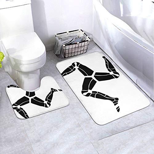 Generieke 2-delige zachte anti-slip badmatset, 3 benen van de mens, inclusief 90 x 60 cm hoog absorberend toiletbril en 50 x 40 cm microvezel zacht pluizig badtapijt, antislip mat wasbaar.