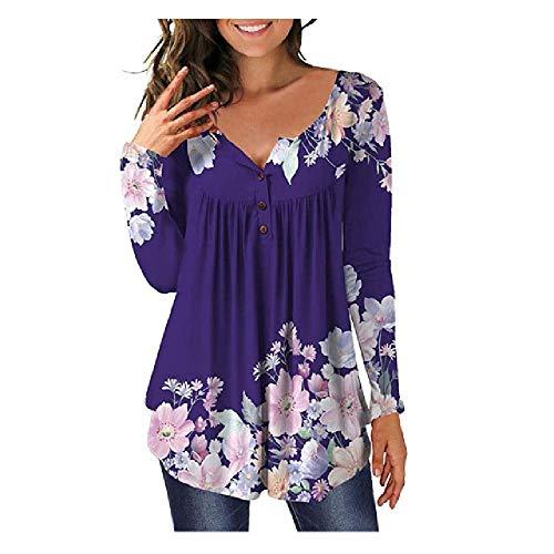 N\P Blusa de mujer botón camisa flores leopardo estampado plisado casual