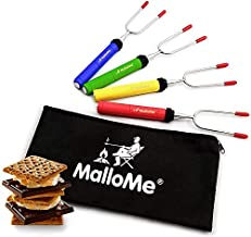 MalloMe Premium Marshmallow Roasting Sticks Set of 4 Smores Skewers & Hot Dog Fork 34 Inch Rotating Extending Patio Fire Pit Camping Cookware Campfire Cooking Kids Accessories – Bonus Bag & Ebook