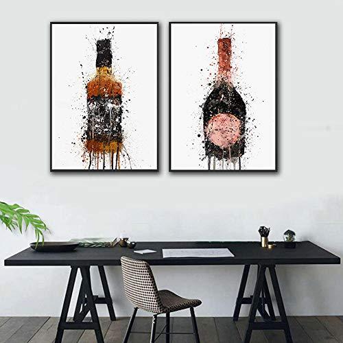 HJKLP Moderna Botella de Vino de Moda Graffiti Lienzo Obras de impresión póster Pintura nórdica e impresión Arte de Pared para Sala de Estar decoración de Cocina 40x60cmx2 sin Marco