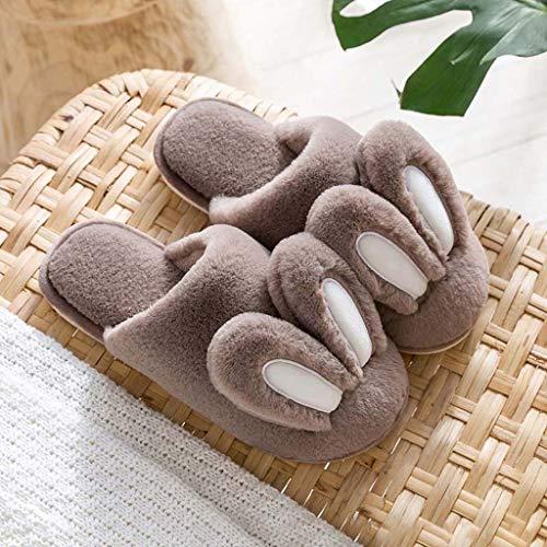 Zapatillas de algodón para mujer, orejas de conejo lindas, chanclas de felpa...