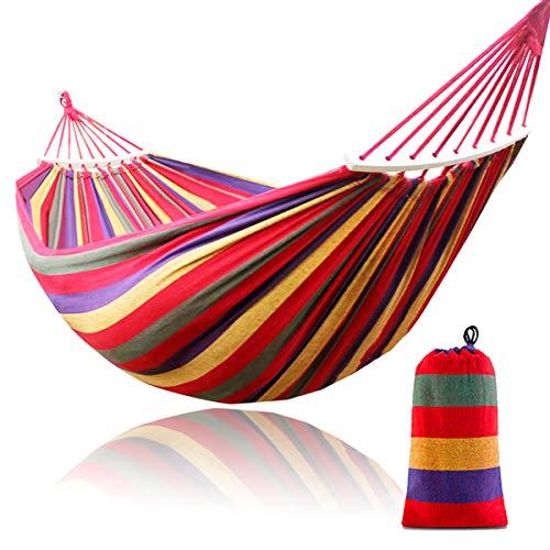 Dyna-Living - Amaca doppia, 260 cm, 190 x 150 cm, in cotone, per 2 persone, con bastone in legno, per esterni, campeggio, giardino, veranda, cortile, capacità di carico: 299,4 kg