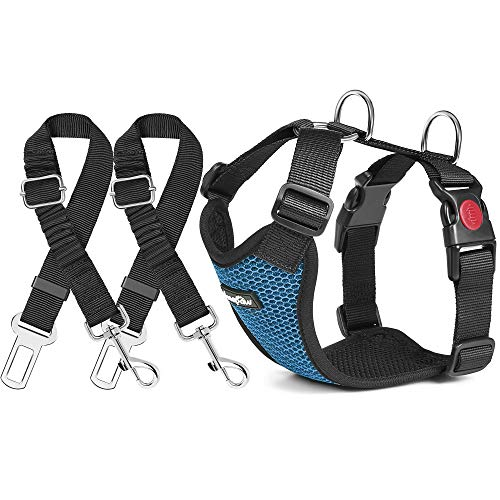 haapaw Dog Seatbelt 2 Packs Adjustable Stretchable Dog Seat Belt with a Double Breathable Mesh Dog Car Harness