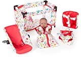 5-teiliges Puppenzubehör Set Sweet Animals mit Reisebett Fahrradsitz Tragegurt (Weiß-Rot)