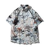 CIDCIJN Camisa Hawaiana para Hombre - Patrón De Arte para Hombre Impreso Hawaiian Beach Shirt Casual Wild Shirt Bluuse Men Button Top Flexible Camisa Seca Rápida Transpirable,XXL
