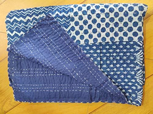 Handicraftofpinkcity Indigo color Hand Block Printed Kantha Quilt, Queen Size Patchwork Cotton Bedspread, Hand Made Throw