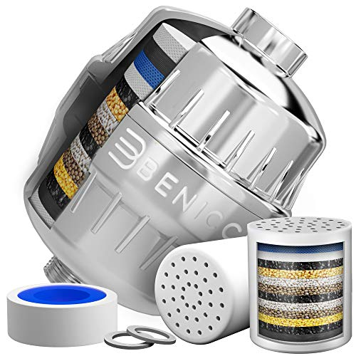 Luxurious 15 Stage Shower Head Filtration System and Water Softener - Premium Filter Reduces Chemical Content and Helps Prevent Eczema, Allergies and Dry Itchy Scalp - Nourishes Hair, Nails and Skin