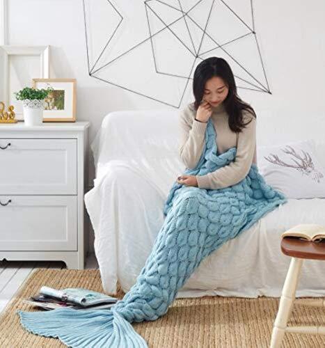 babyzhang Bunte handgemachte gestrickte Meerjungfrau Schwanz Decke Erwachsene Kind Baby Meerjungfrau Decke Stricken Kaschmir-wie TV Sofa Decke, Fischschuppen himmelblau, 60x135cm