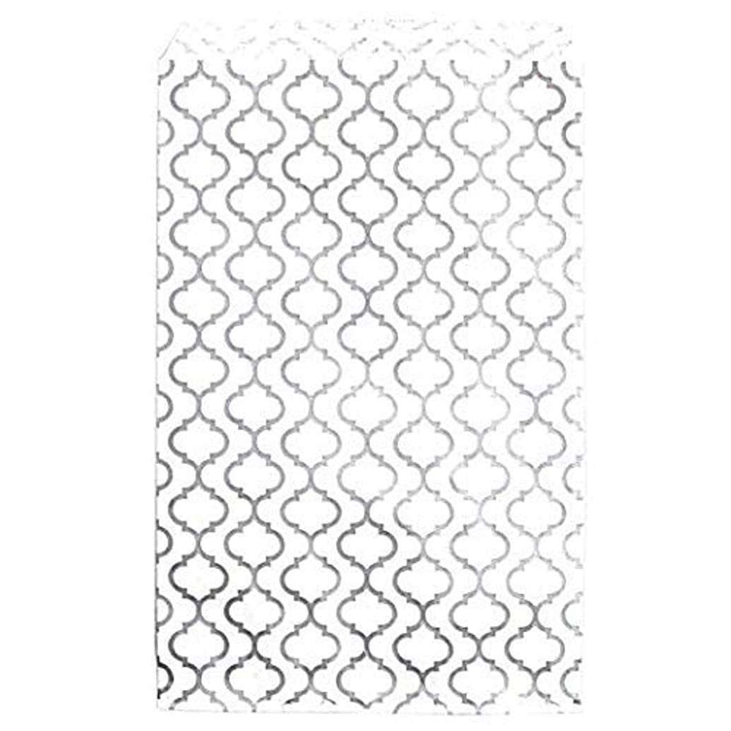 100 pcs Shimmering Silver Trellis Pattern Paper Merchandise Gift Bags S Gift Card, Gift Candy, Cookies, Doughnut, Crafts, Party Favor, Sandwich, Jewelry Merchandise 6