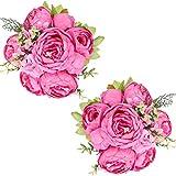 Tifuly 2 Piezas de Ramos de peonía Artificial, Ramo de Flores de imitación de peonías de Seda realistas para la decoración del Banquete de Boda en el hogar, arreglos Florales (Primavera Rosa Roja)