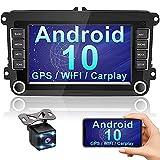 Hikity Android Carplay 2 DIN Radio de Coche para VW Seat Skoda Navegación GPS Estéreo del Coche 7' Pantalla táctil con RDS FM WiFi USB Enlace Espejo + Canbus + Cámara visión Trasera
