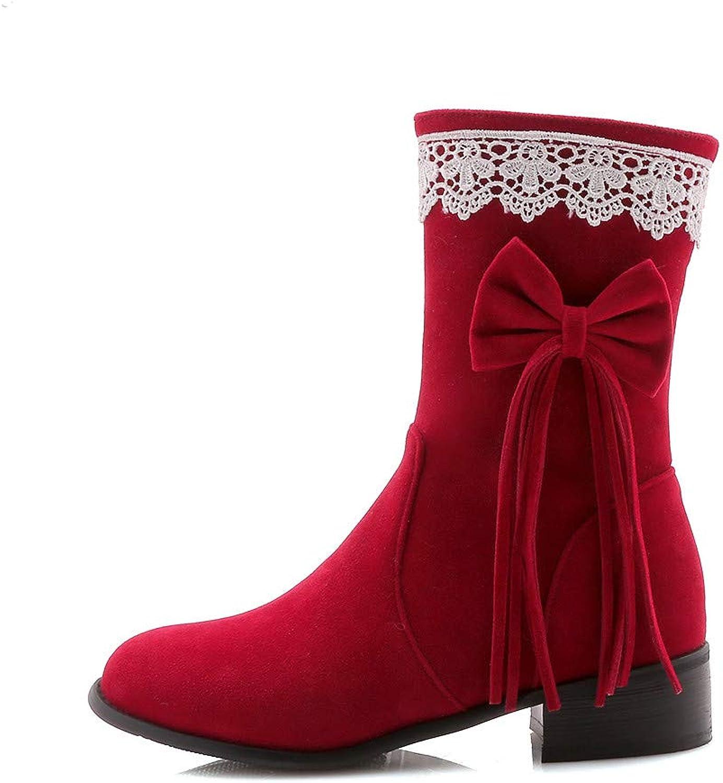 Faux Suede Fur Mid- Calf Boots 8 for Women Multicolor Lace Bow Multi Stripe Winter Snow shoes