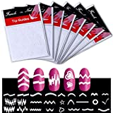 24 Sheets French Manicure Nail Art Stickers, Kalolary DIY Self-Adhesive Nail Tip Art Stencils Decorations Form Fringe Guides(White)