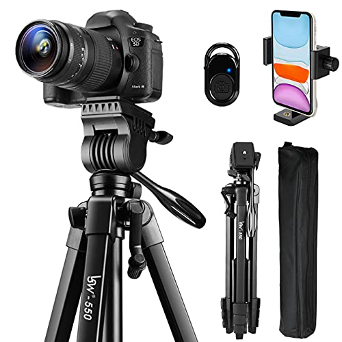 Tripod, 60-Inch Camera Tripod Stand Aluminum for Photography Canon Nikon Sony with Fluid Head & Carry Bag, Lusweimi Video Tripod with Universal Phone Mount & Bluetooth Remote for iPhone Android Phone