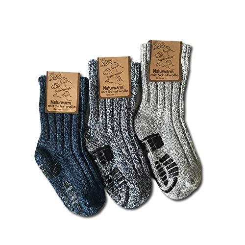 your+ ABS Kinder Norwegersocken - 3er Pack Gr. 23-26 warme Wintersocken Haussocken 40prozent Wolle naturwarm & flauschig (die Socken fallen groß aus) - (23-26, Weiß-Blau)