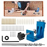 15 Degree Pocket Hole Screw Jig Dowel Drill Joinery Kit 46PCS Woodworking Angle Drilling Guide Angle Tool Kit Hole Positioner Locator Tool Carpentry Locator Craft (Blue)