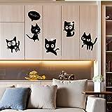 TAOZIAA 3D Lustige Katzen Spiegel Oberfläche Wandaufkleber Für Kinderzimmer Schlafzimmer Badezimmer Wohnzimmer Küche Selbstklebende Kunsttattoos Wandbild