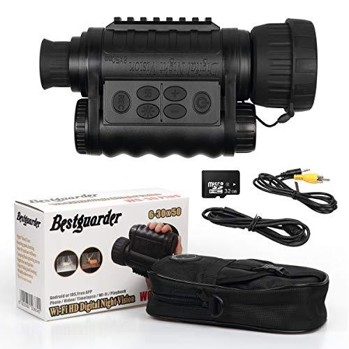 Bestguarder WiFi Digitales Nachtsicht mit 32G Speicherkarte 6 x 50 mm Nachtsichtgerät Infrarot HD Kamera, 12 MP Fotos, 720p Video, bis zu 350M Erkennungsabstand, 1,5 Zoll TFT LCD