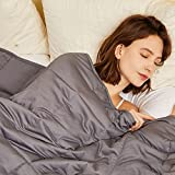 Hiseeme Weighted Blanket 15lbs for Adult (48''x72'', Twin Size) with Glass Beads - Dark Grey