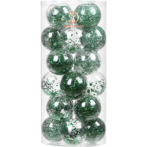 Sea Team 70mm/2.76' Shatterproof Clear Plastic Christmas Ball Ornaments Decorative Xmas Balls Baubles Set with Stuffed Delicate Decorations (24 Counts, Babyblue)