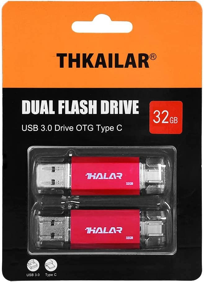 THKAILAR 32GB 2 Pack USB C Stick to USB Flash Drive for Smartphone External Storage Device, Flash Drive USB C for PC/Galaxy/MacBook Pro (32GB-2-Pack)