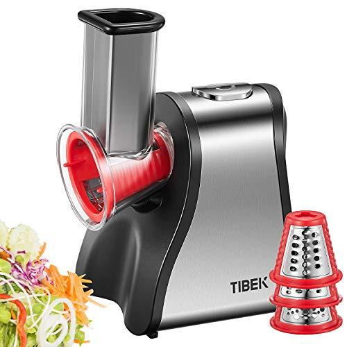 TIBEK Rallador Electrico, Cortador de Verduras Eléctrico 200W con 6 Accesorios y Tubo de Alimentación Grande, Perfecta Para Sus Verduras, Queso, Frutas y Batidos , Sin BPA (Plata/Rojo)
