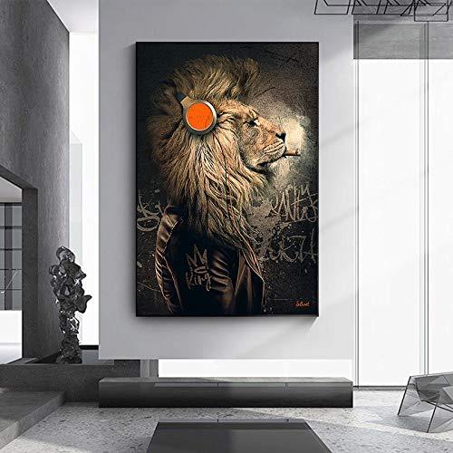 fdgdfgd Animales Divertidos Auriculares león Pintura al óleo Carteles de Arte de Pared y Pinturas de decoración de Sala de Estar