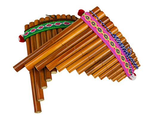 Sunny Times - Panflöte, Kinder Musikinstrument, 13 Rohre Indianer Peru, Traditionell, natur