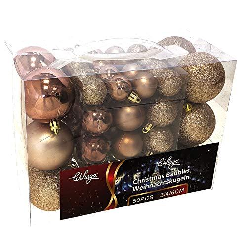 Wohaga® 50 stuks kerstballen kerstversiering Kerstboomversiering, kleur: champagne, maat: 50