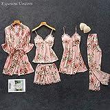 YUHOOE Damen Nachtwäsche Set,Plus Size Pyjama Seide Blumen Gesamtdruck 5Pcs Pyjama Set Satin Pyjama...