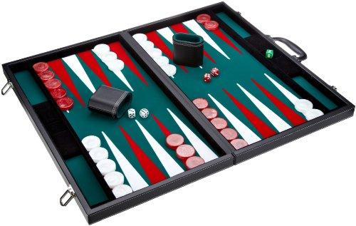 Philos 1715 - Backgammon toernooisgrootte, Filzinlet groen-wit-rood, koffer kunstleer