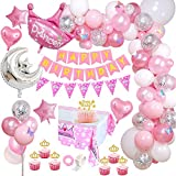 Decoración de Cumpleaños para Niña con Adorno de Pastel de Bricolaje, Rosa Pancarta de Feliz Cumpleaños, Globos Papel de Aluminio Corazón Estrella, Decoraciones para Cumpleaños