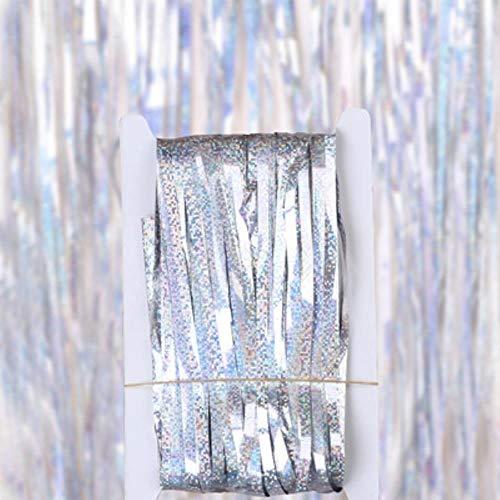 Huien Bachelorette Party Telón de Fondo Cortinas Glitter Gold Tinsel Fringe Foil Curtain Birthday Party Decoration Rain Fringe Tassel Decor, Laser Silver, 1mX4m